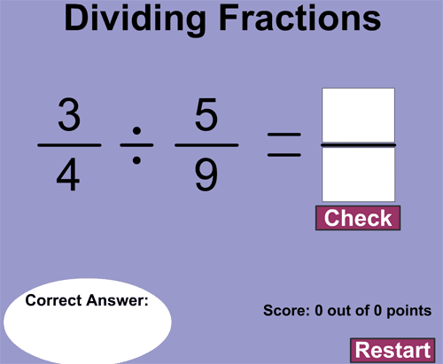 Computation practice on dividing fractions