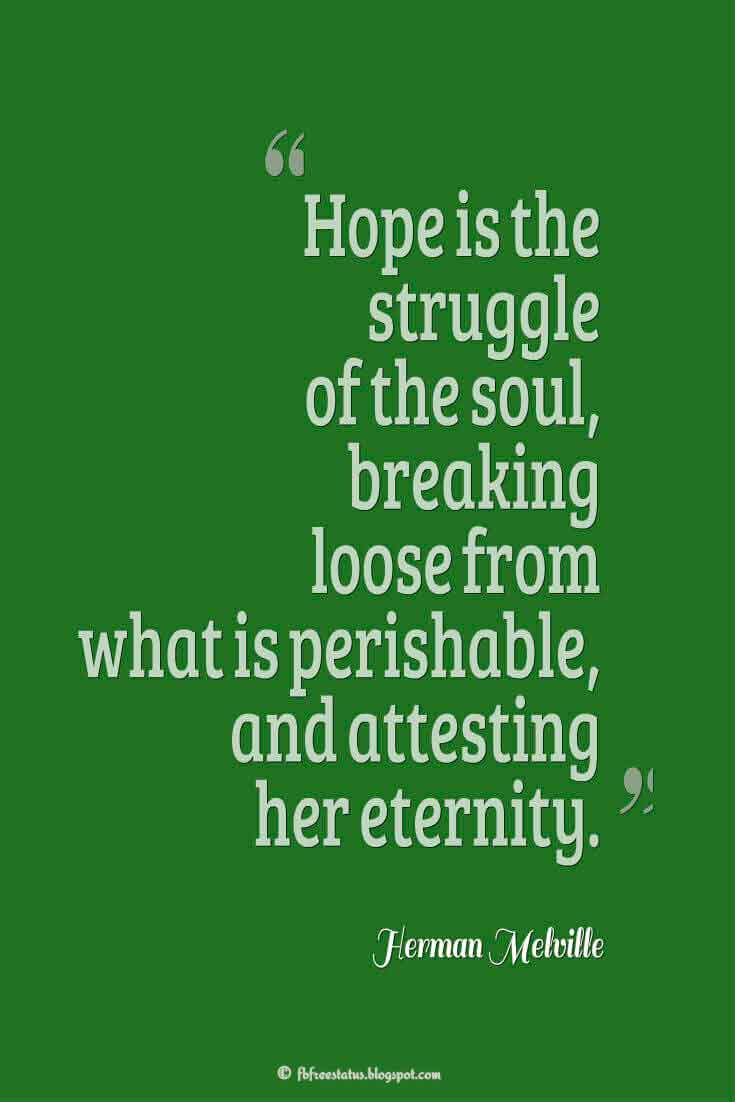 """Hope is the struggle of the soul, breaking loose from what is perishable, and attesting her eternity."" ― Herman Melville Quotes About struggle"