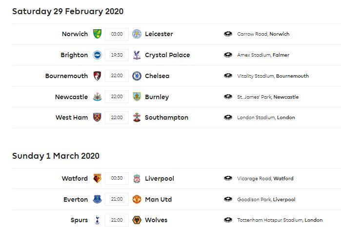 Jadwal Liga Inggris Pekan 28