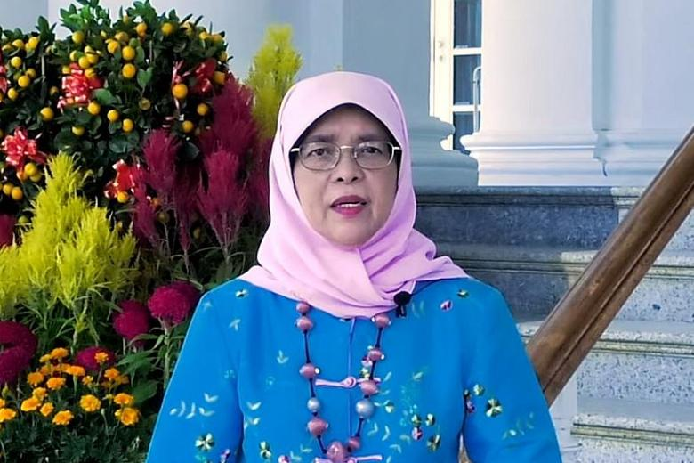 President Halimah urges Singaporeans to get vaccinated in CNY message, posted on Monday, 15 February 2021