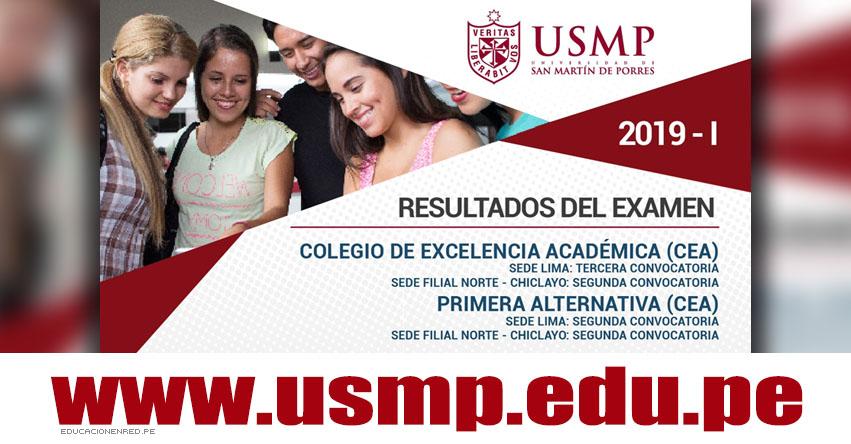Resultados USMP 2019-1 CEA Primera Alternativa (2 Diciembre) Lista Ingresantes Examen Admisión - Lima - Chiclayo - Segunda Convocatoria - Universidad de San Martín de Porres - www.usmp.edu.pe