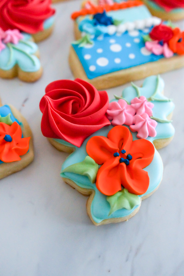 floral birthday decorated cookie set from bakeat350.net