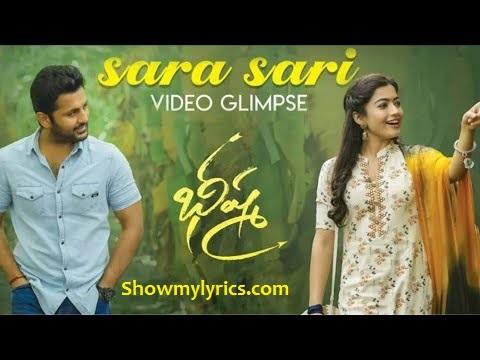 Sara Sari Lyrics Bheeshma Nitin Rashmika Shree Mani Showmylyrics