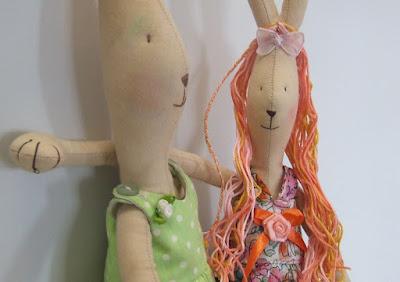 Zajączki Maileg z włosami - mama i córka - Krysia to uszyła - uszyte na zamówienie