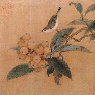 dibujo chino de un ave sobre una rama de nispero