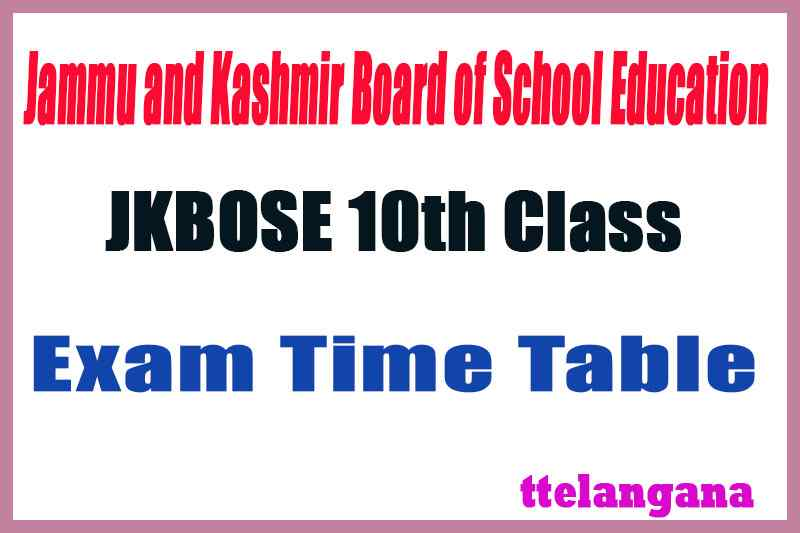 JKBOSE 10th Exam Time Table