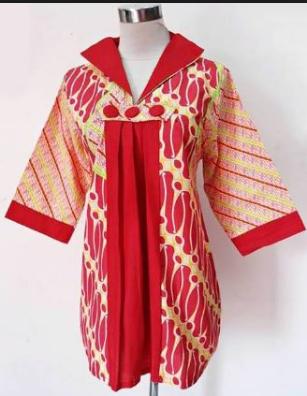 model baju batik atasan wanita kantor formal