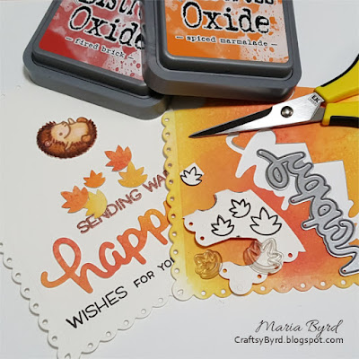 Hedgehog Autumn Birthday Wishes card by Maria Byrd, 082017 | CraftsyByrd.blogspot.com