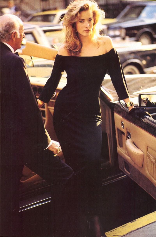 Tatjana Patitz wearing Yves Saint Laurent in Vogue US September 1987 via www.fashionedbylove.co.uk
