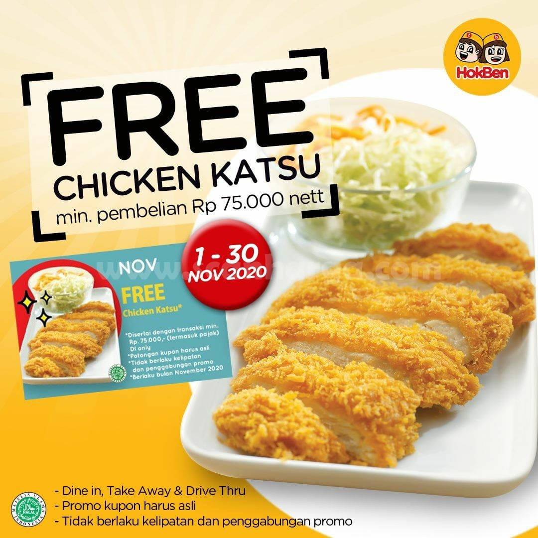 HOKBEN Promo FREE Chicken Katsu - setiap pembelian min. Rp 75.000/nett