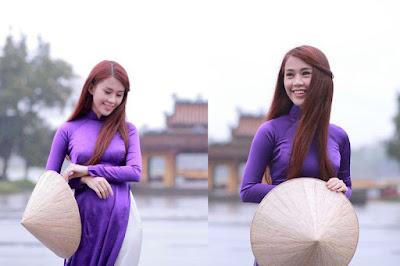 Hình ảnh: Thiếu nữ với áo dài lụa satin màu tím