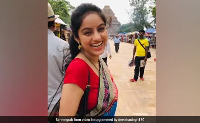 ब्लू साड़ी और हाथ में सिंपल बैग लेकर कोणार्क मंदिर पहुंचीं दीपिका सिंह, पब्लिक भी खा गई धोखा- देखें Video