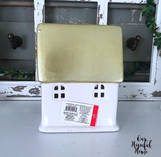 Target Dollar Spot porcelain gold roof white porcelain cottage LED