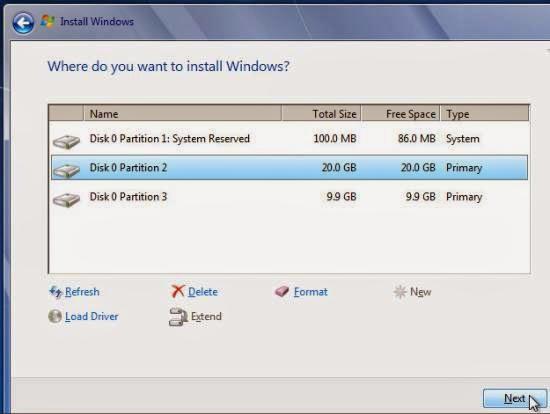 Instalare windows 7 - instalarea propriu zisa
