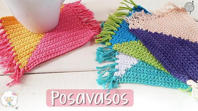 Posavasos Bicolor a Crochet