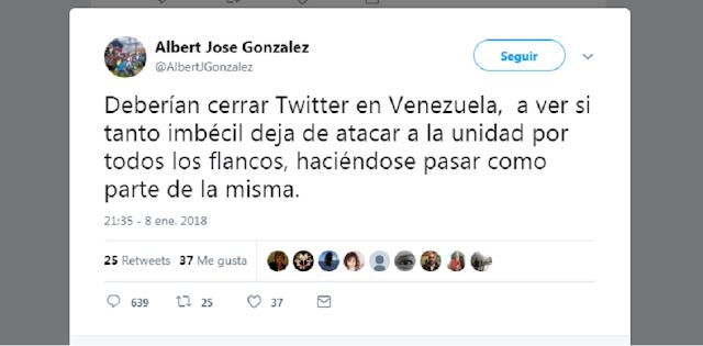 Opositor venezolano del partido más chavista sugiere cerrar Twitter para censurar críticas