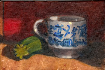 Oil painting of a zucchini partly obscured by a blue and white teacup.