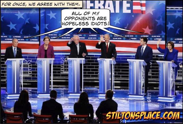 stilton's place, stilton, political, humor, conservative, cartoons, jokes, hope n' change, democrats, debate, bloomberg