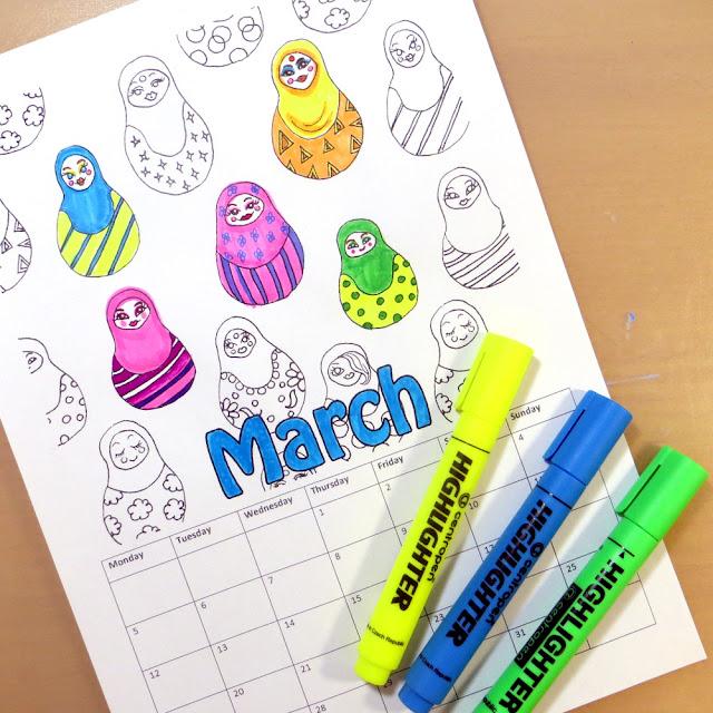 Coloring calendar in Etsy