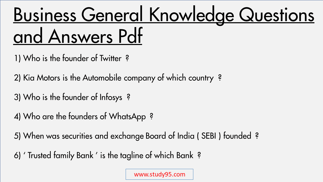 Business General Knowledge Questions