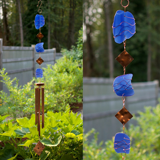 Cobalt blue glass and copper wind chime: Coast Chimes