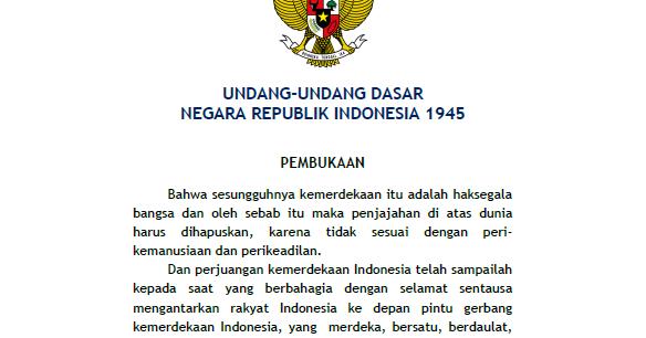 PERUBAHAN ISI PEMBUKAAN UNDANG-UNDANG DASAR (UUD) 1945 ...