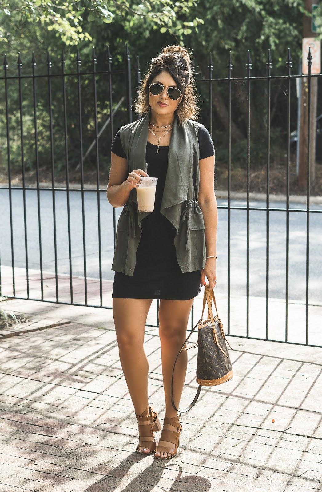 utility vest, t shirt dress, vintage louis vuitton