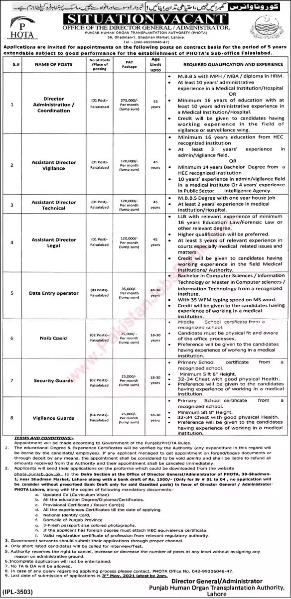 New Jobs in Pakistan Punjab Human Organ Transplantation Authority Faisalabad Jobs 2021 | Download Application Form