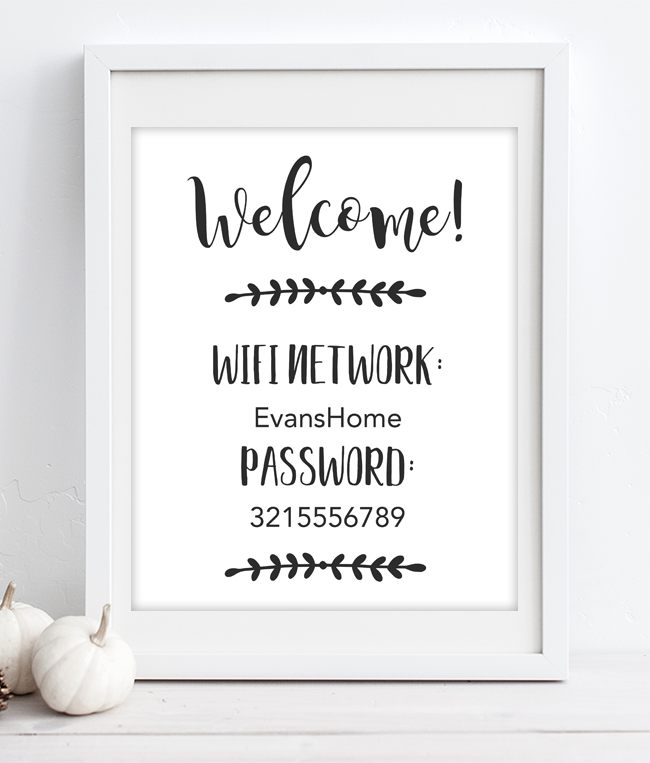 It is a photo of Sassy Wifi Network and Password Printable Free