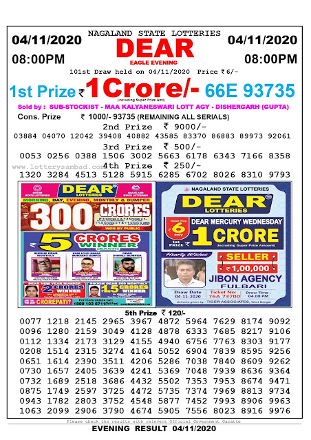 8pm Lottery Sambad, 04.11.2020, Sambad Lottery, Lottery Sambad Result 8 00 pm, Lottery Sambad Today Result 8 pm, Nagaland State Lottery Result 8 00 pm