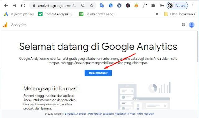 Kunjungi website https://analytics.google.com/analytics dan mendaftar secara Gratis