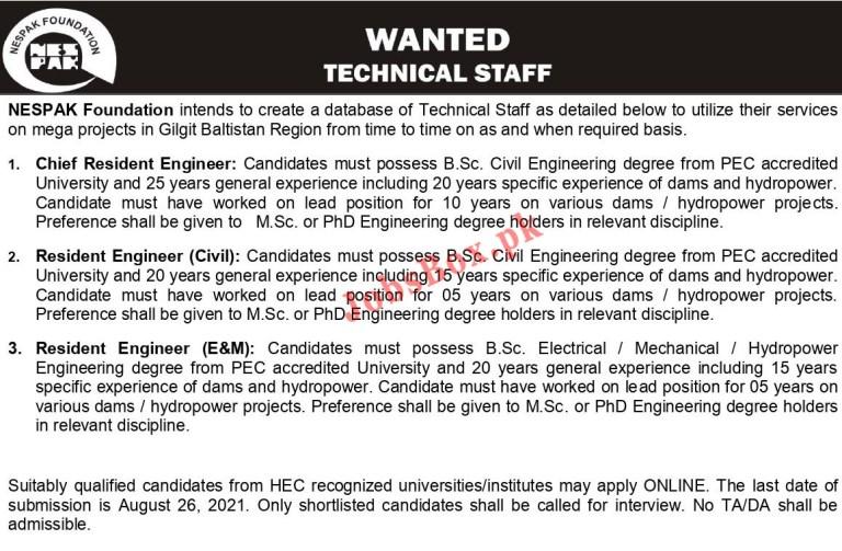 National Engineering Services Pakistan NESPAK Foundation Jobs 2021 – Apply Online