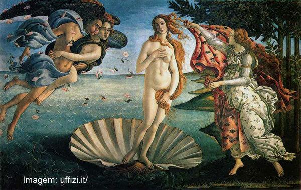 O Nascimento de Vênus, de Botticelli, na Galleria degli Uffizi, em Florença