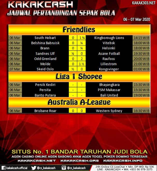 Jadwal Pertandingan Sepak Bola 06 - 07 Maret 2020