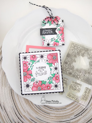 Bold Flowers a card and tag by Diane Morales using the Floral Fringe Stamp Set by Newton's Nook Designs