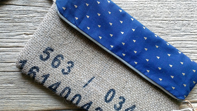 Royal Blue and Gold Triangle Fold-over burlap wristlet by Lina and Vi Plymouth MI - www.linaandvi.etsy.com