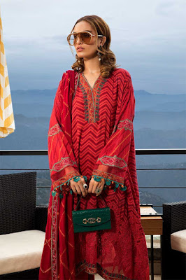 Maria B unstitched Linen Fuchsia Pink Color Dress front Design
