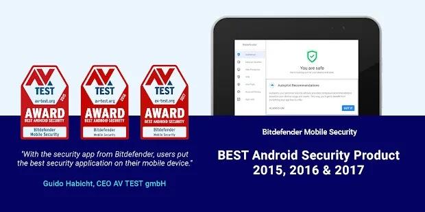 Bitdefender Mobile Security أفضل منتج أمان Android لعام 2015 و 2016 و 2017 وفقًا لـ AV-TEST