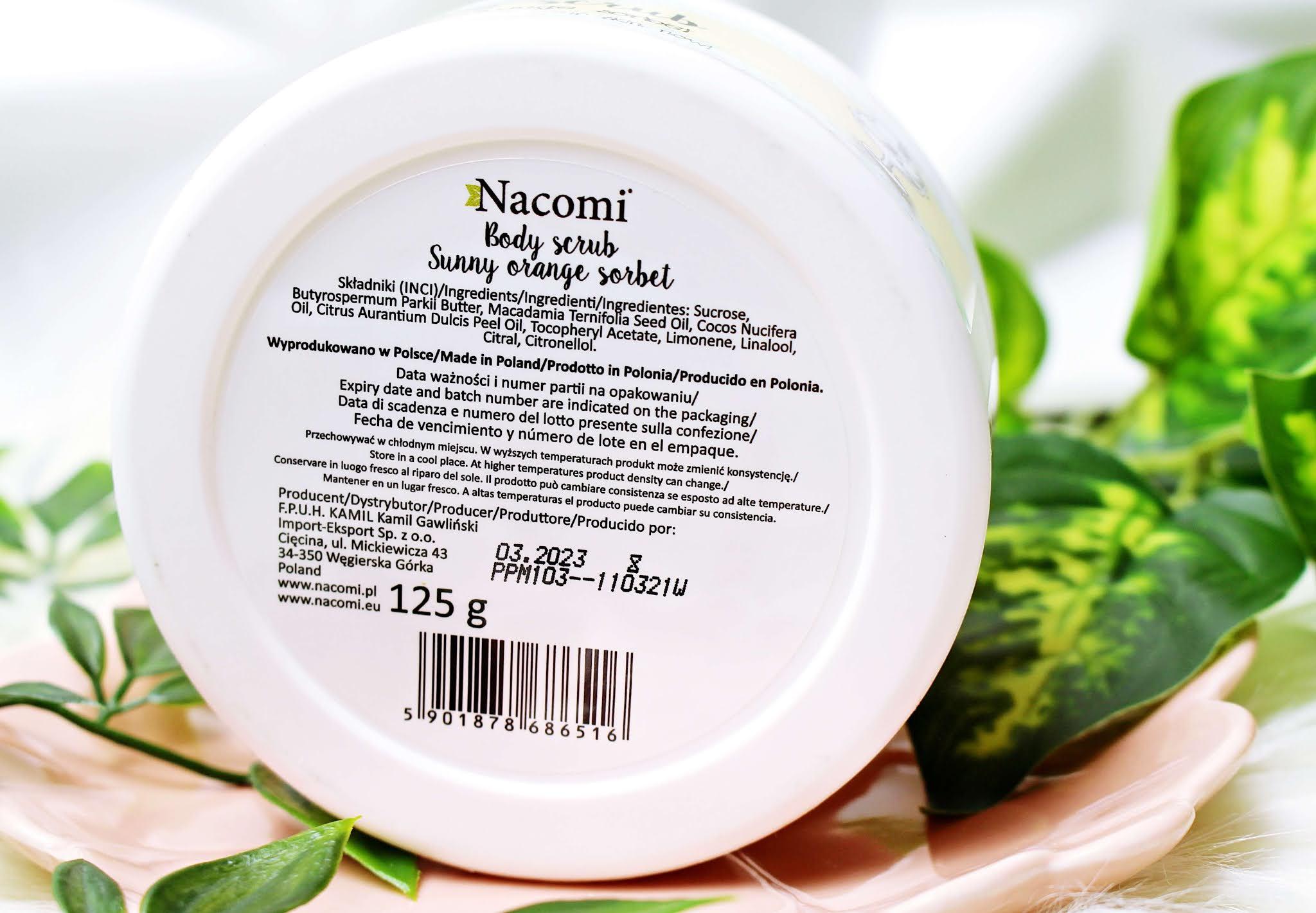Peeling Nacomi do ciała z olejem macadamia i olejem pomarańczowym