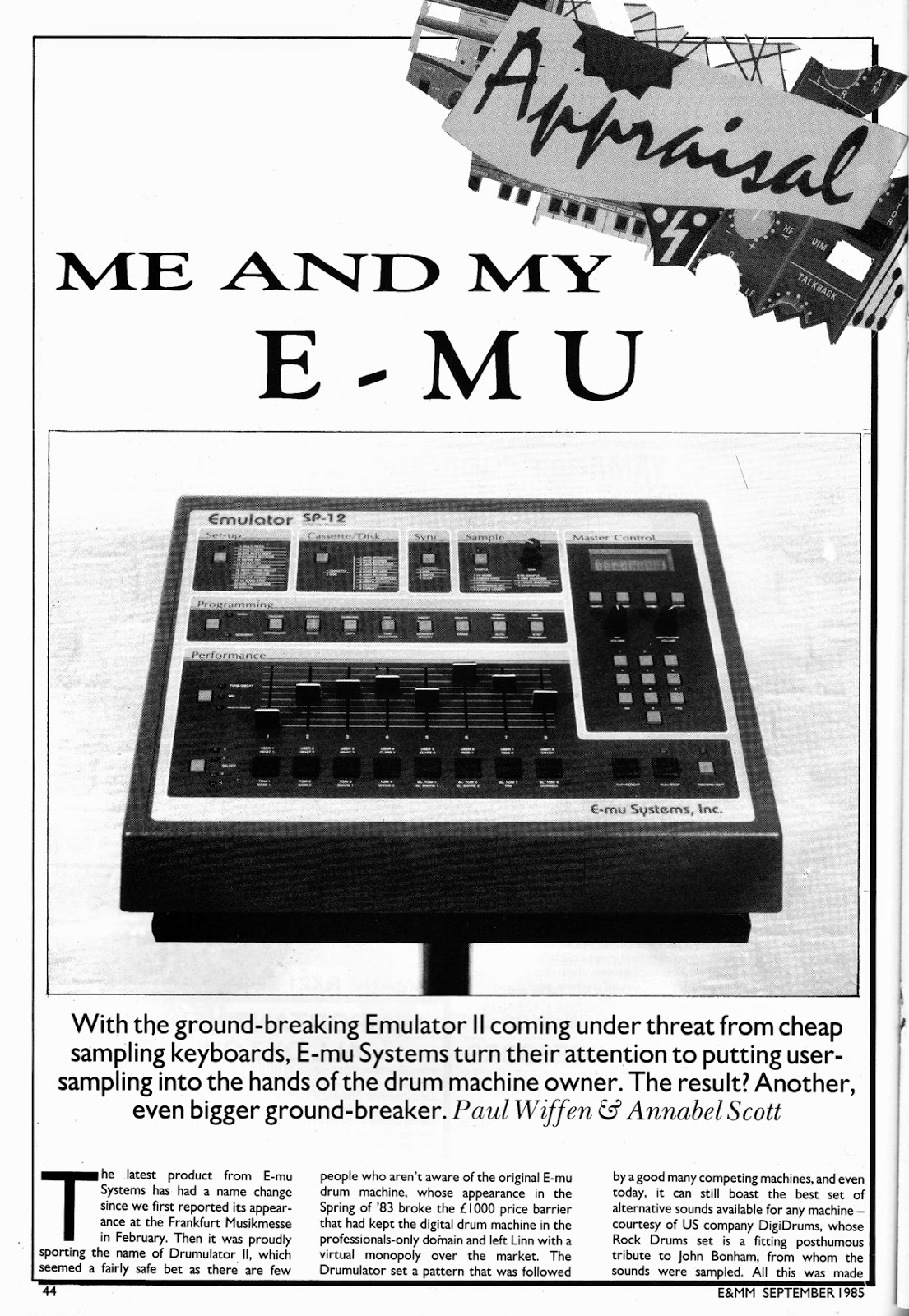 noyzelab emu sp 12 sampling drum machine review e mm sept 1985 paul wiffen annabel scott. Black Bedroom Furniture Sets. Home Design Ideas