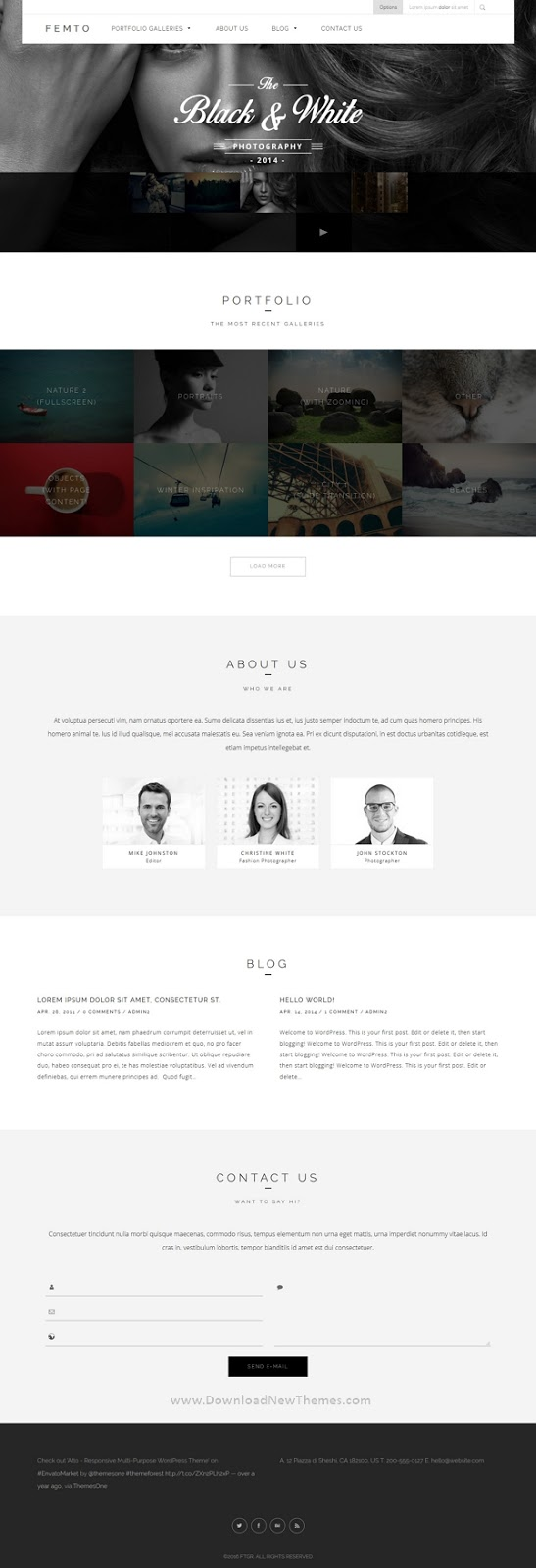 Responsive One Page Photography Theme