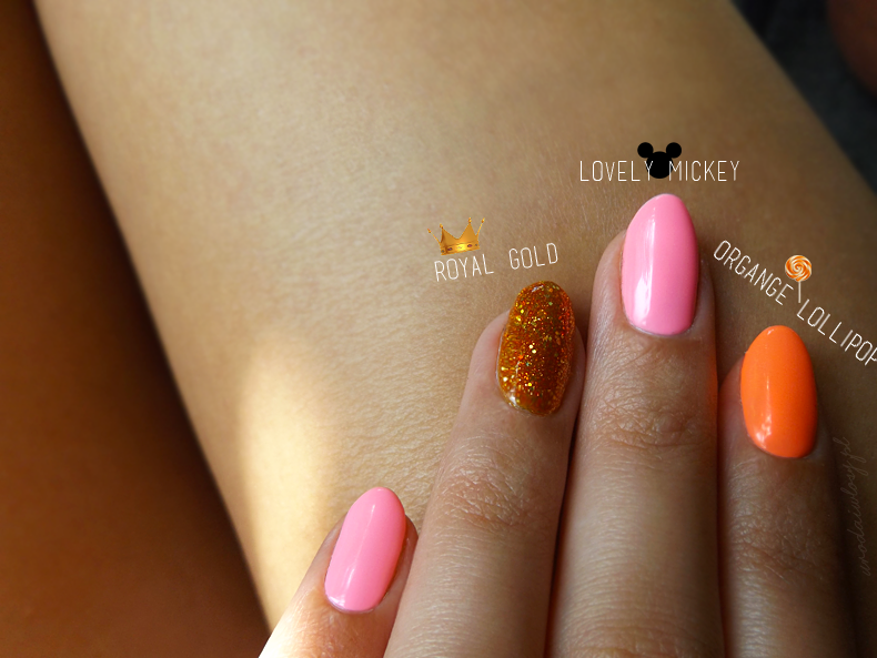 Lovely Mickey, Orange Lollipop i Royal Gold