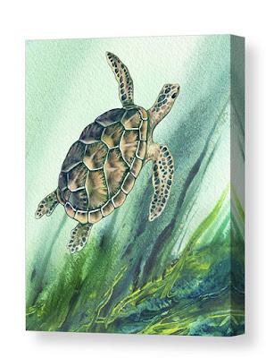 Turtle Bestselling Watercolor Painting by the artist Irina Sztukowski