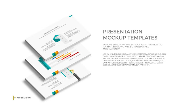 Free PowerPoint Template with 3D Layered  3 Screen Mockups