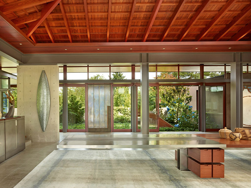 Lake Washington Shores Pavilion House Blends Cement Steel And Woods To Creat