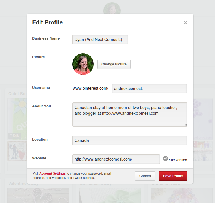 Pinterest tips for bloggers: Complete your profile from And Next Comes L