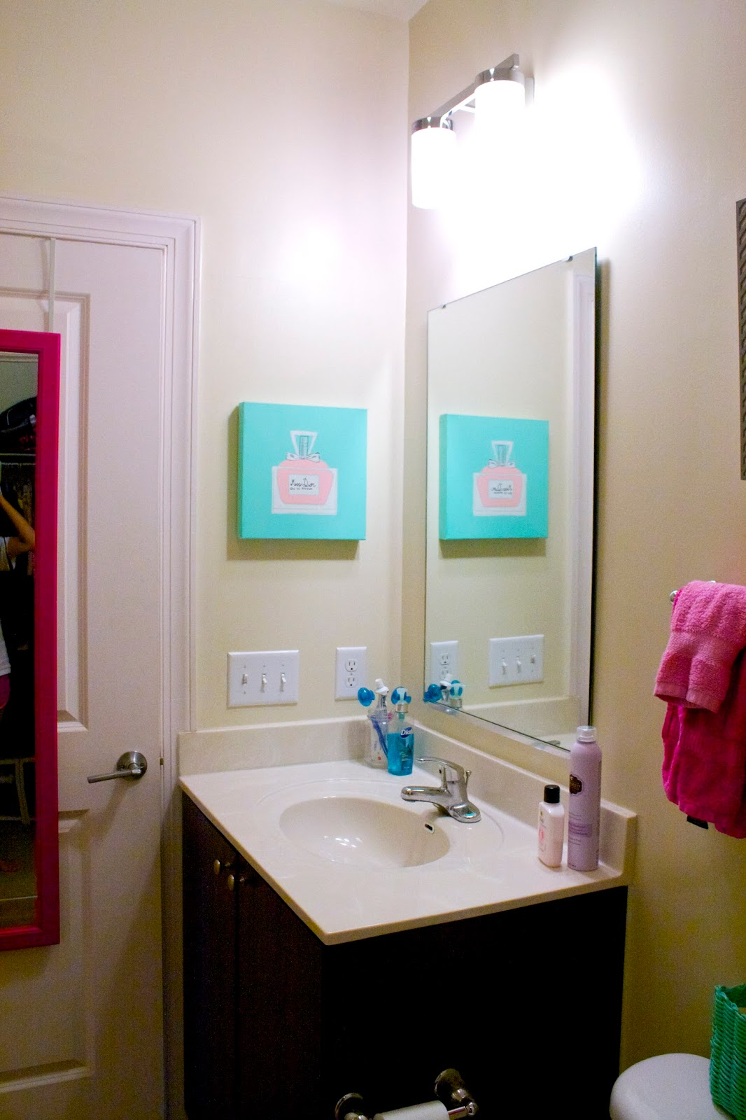 Bathroom Details   Pink Over The Door Mirror|| Hot Pink Body Towels || Hot  Pink Face Towels|| Small Pink Hand Towels || Grey Shadow Box Shelf: TJ Maxx