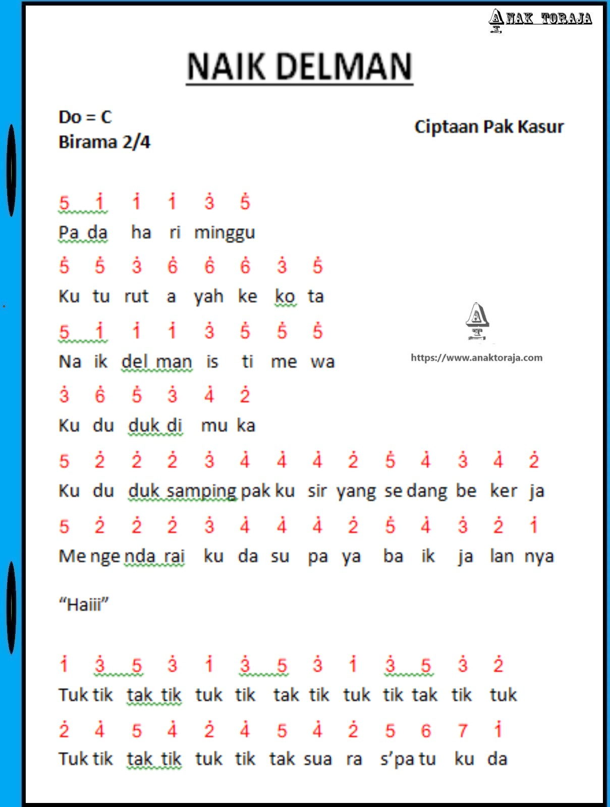 Lagu Anak Anak Naik Delman : delman, Angka, Delman