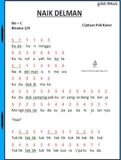 Not Angka Lagu Naik Delman