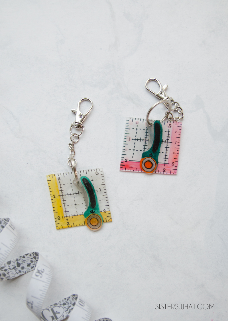 make a shrink plastic sewing key chain for those